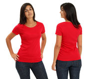 Female wearing blank red shirt Stock Photo