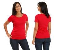 Female wearing blank red shirt stock photo