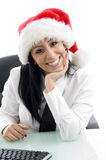 Female wearing christmas hat Royalty Free Stock Photography