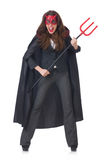 Female wearing devil costume Stock Image