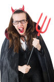 Female wearing devil costume Stock Photography