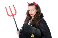 Female wearing devil costume Stock Photo