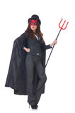 Female wearing devil costume Stock Images
