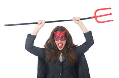 Female wearing devil costume Stock Photos