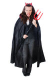 Female wearing devil costume Royalty Free Stock Images