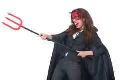Female wearing devil costume Royalty Free Stock Photos