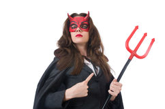 Female wearing devil costume Royalty Free Stock Photography