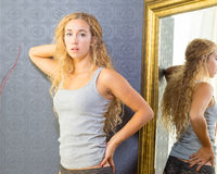 Female Wearing Gray Tee And Underwear Royalty Free Stock Photos