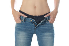 Female wearing jeans and isolated on white backgro Stock Image