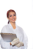 Female Wearing Lab Coat While Holding Clipboard Royalty Free Stock Photos