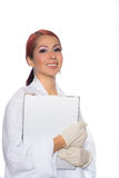 Female Wearing Lab Coat While Holding Clipboard Stock Photos