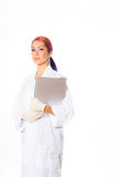 Female Wearing Lab Coat While Holding Clipboard Royalty Free Stock Images
