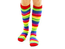 Female wearing rainbow colored socks Stock Photos