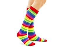 Female wearing rainbow colored socks Stock Image