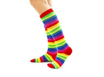 Female wearing rainbow colored socks Stock Images