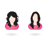 Female web avatars. Illustration of two female avatars with different hair style Stock Image