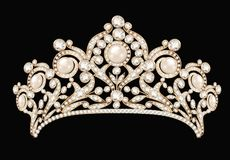 female wedding diadem, crown, tiara gold with Royalty Free Stock Photography