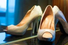 Female wedding footwear Royalty Free Stock Images