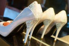 Female wedding footwear Royalty Free Stock Photos