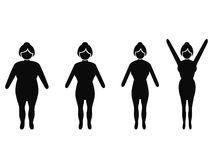 Female weight loss silhouettes. Isolated woman from fat to thin, weight loss silhouettes on white background Stock Photo