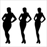 Female weight- stages of weight loss silhouette Royalty Free Stock Photo