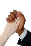 Female white and black man's hand  married Stock Images