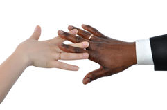 Female white and black man's hand Royalty Free Stock Photos