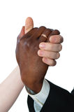 Female white and black man's hand newly married Stock Photos