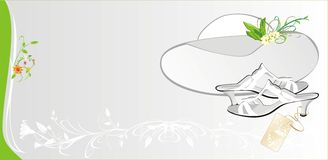 Female white hat and shoes. Fashion card. Vector illustration Stock Photo