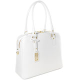 Female white leather bag with gold trinket isolated on white. Women's white leather bag isolated on white Royalty Free Stock Photography