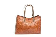 Female wicker shopping bag Royalty Free Stock Photography