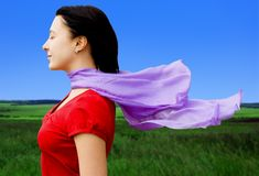 Female on wind Royalty Free Stock Image