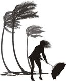 Female in the wind and trees palms Royalty Free Stock Photo