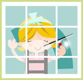 Female window cleaner Stock Photography