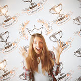 Female with winner`s cups Royalty Free Stock Image