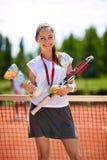Female winner in tennis Royalty Free Stock Images