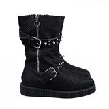 Female winter black boots Stock Photos