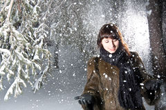 Female in winter park Stock Photo
