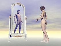 Female wishing of being male - 3D render Stock Images