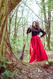 Female witch with broom Stock Photography