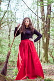 Female witch with broom Royalty Free Stock Images