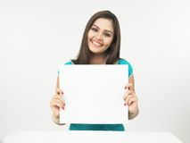 Female With A Blank Placard Royalty Free Stock Photography