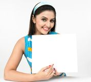 Female With A Blank Placard Stock Photography