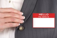 Female With Name Tag Stock Photos