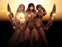 Female wizard, barbarian and druid Royalty Free Stock Image