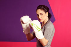 Female woman boxing with white gloves Royalty Free Stock Photography