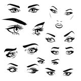 Female woman eyes and brows image collection set. Fashion girl eyes design. Vector illustration Stock Images