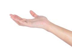 Female woman hand holding. Isolated on white background Royalty Free Stock Photo
