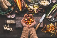 Female woman hands holding diced colorful vegetables on rustic kitchen table with vegetarian cooking ingredients and tools. Health Royalty Free Stock Photo
