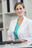 Female Woman Hospital Doctor Using Computer Royalty Free Stock Photography